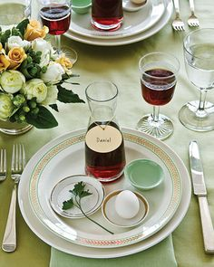 In addition to displaying the main seder plate, incorporate some of the symbolic foods of Passover into individual place settings. (Carafes of wine can double as place card holders.) With everything in reach, guests will have what they need during the reading of the Haggadah, keeping the passing of the seder plate -- and the risk of spills at the table -- to a minimum.