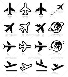 Airport Icons .This image is available on GraphicRiver. Vector black icons set of plane isolated on white FEATURES: 100% Vector Shapes All