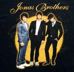 Jonas Brothers Tour 2008 MED concert t-shirt black yellow Nick group men women