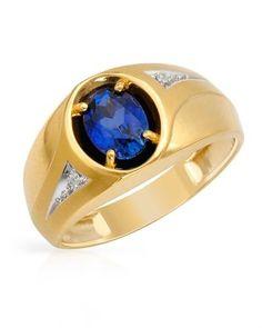 1.55 CTW Sapphire 14K Gold Men's Ring Size 11 #zinastore