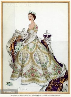 The chosen design for the magnificent Coronation dress of Queen Elizabeth II created by couturier, Norman Hartnell. The dress featured exquisitely intricate embroidery, a hallmark of Hartnell's work, depicting the various floral symbols of the British Isles and Commonwealth countries.  The drawing also shows the Queen wearing the George IV diadem and behind her is the Imperial State Crown.