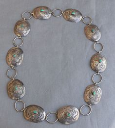 Old Vintage Handmade Silver Turquoise Concho Belt Necklace Harvey Era