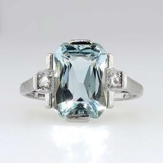 Fancy Cut Art Deco 3.5ct Aquamarine & Rose Cut Diamond Ring 18k | Antique & Estate Jewelry | via Jewelry Finds