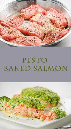 Pesto baked salmon