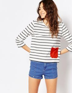 ASOS Top in Stripe with Suede Pocket