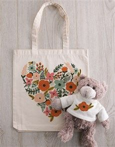 gifts: Personalised Floral Heart Teddy in Tote Bag! Flower Delivery Service, Welcome Spring, Spring Day, Africa, Reusable Tote Bags, Heart, Floral, Flowers, Gifts