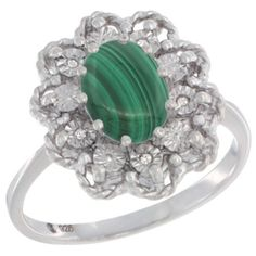 $70.60 USD, Sterling Silver Natural Malachite Ring Oval 8x6 by WorldJewels