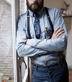 Double denim and bearded