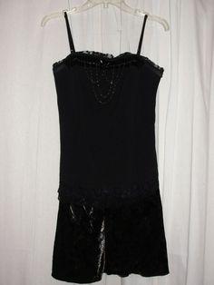 ZULU Black Gothic Chandelier Beaded Spaghetti Strap Velvet Dress Womens Size M #Zulu #Shift #DressyEveningCocktail