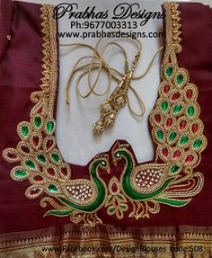 CODE NO Double Peacock Aari Embroidery Blouse. Embossed Thread work, chain stitches, Stone work and Sugar Bead work Half Bead work, Zardosi work makes this work looks Beautiful. Peacock Blouse Designs, Peacock Embroidery Designs, Cutwork Blouse Designs, Border Embroidery Designs, Simple Blouse Designs, Peacock Design, Blouse Patterns, Aari Embroidery, Embroidery Works