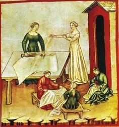 "Anonimo di scuola lombardo-veneta, la bottega del sarto - miniatura dal ""Tacuinum Sanitatis"" di Vienna (Vindob. Ser. n. 2644), 1385 ca. - Vienna, Biblioteca Nazionale."