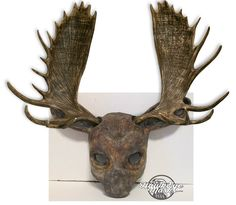 Moose mask, realistic costume animal mask, faux antlers, made to order, handmade, hand painted, masquerade mask, Carnival mask by HawkEyeMasks on Etsy