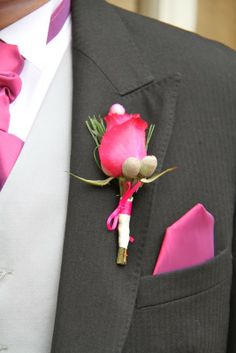 Hot Pink Rose Boutonniere