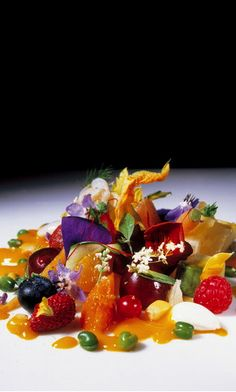 502, El Bulli, 1998, postre (dessert) versión dulce de la 'gargouillou' de Michel Bras (sweet version of Michel Bras's 'gargouillou')