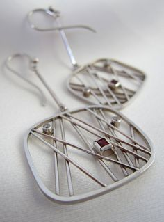 Garnet and white cubic zirconia sterling silver earrings
