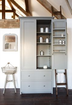 Shaker Pantry with slate shelf, painted in Lead and on show in our Loft Kitchen | Cotes Mill