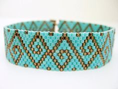 ** This is a MADE TO ORDER item. Please allow up to 3 days for production after purchase. ** A beautiful peyote bracelet! Made of Japanese delica beads in silver lined brown and turquoise. It closes with a beaded toggle and a loop. The bracelet is approximately 7 (17,5cm) long when