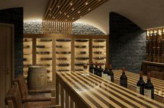 The Capra, Saas Fee, Switzerland - Wine Cellar Proposal Saas Fee, Alpine Style, Ski Lift, At The Hotel, Wine Cellar, Lighting Design, Wine Rack, Skiing, Wine Rooms