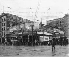 Smith Drug Store Corner at 200 South and Main Street, August 26, 1910. About a year after Shipler took this photograph, the building, with its myriad billboards, was razed for construction of the new high-rise Walker Bank Building.