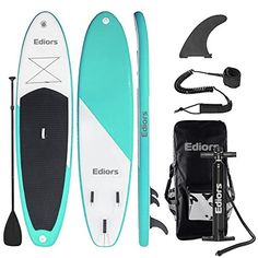 Ediors Inflatable SUP iSUP Stand Up Paddle Board Inches Thick) Universal Wide Stance w/Base Fin for Paddling and Surf Control Non-Slip Deck Children and Grownup (Aqua) Paddle Board Surfing, Inflatable Paddle Board, Inflatable Sup, Standup Paddle Board, Paddle Boarding, Stand Up Surf, Sup Stand Up Paddle, Sup Surf, Water Sports