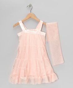 Peach Bow Tulle Tiered Dress & Wrap - Toddler & Girls by Paulinie on #zulily