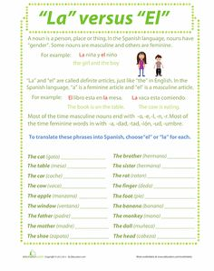 Worksheets: Nouns in Spanish