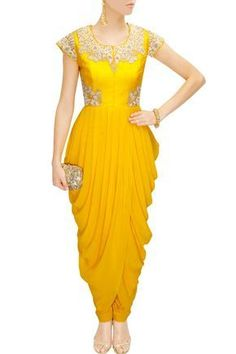 This yellow cowl drapped kurta is featuring with cowl overlap hem and zari, resham embroidered raw silk bodice with cap sleeves. This yellow cowl overlap kurta comes along with matching yellow lycra churidaar. Dress Indian Style, Indian Dresses, Indian Wear, Indian Outfits, African Fashion, Indian Fashion, Stylish Dresses, Fashion Dresses, Salwar Kameez