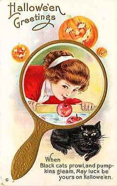 Halloween Girl Bobbing Apples Black Cat Jack o Lanterns Antique Vintage Postcard Halloween Circa 1908 Girl in mirror bobbing for apples with black cat and Jack o Lantern. Unused Stecher collectible an