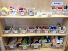 Creative workshop storage at Huddersfield Early Excellence – storage Year 1 Classroom, Early Years Classroom, Classroom Layout, Classroom Organisation, Classroom Design, Preschool Classroom, Classroom Ideas, Workshop Storage, Workshop Organization