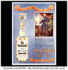 FOOD & DRINK - Booths Gin Advert. From the Illustrated London News Magazine, December (Christmas) edition, 1935.