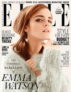 Two aspects of this magazine cover that are really impressive are the typographical relationships and the way the image covers the masthead. The typographical relationship is contrasting, with serif for the masthead and main cover line about Emma Watson, while the rest of the cover lines are sans-serif. This almost creates a hierarchy of sorts, showing that the text in serif is most important.