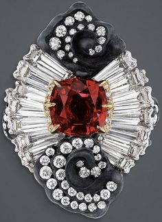 "DIOR. ""Appartements de Mesdames Marqueterie"" ring in yellow, white and pink gold, scorched silver, diamonds and ruby."
