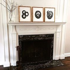 Stunning mantel featuring art by mother and daughter in our Mandalay frame by @vbradleyinteriors. We love the look of modern abstract art mixed with classic architecture.