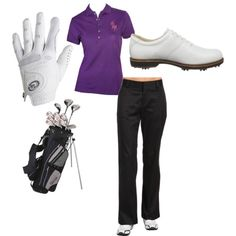 My clubs and my shoes....but love the black pants and purple polo.