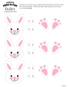 Tubetes Easter Bunny Template, Easter Templates, Bunny Templates, Free Easter Printables, Easter Birthday Party, Bunny Birthday, Easter Projects, Easter Crafts For Kids, Bunny Party
