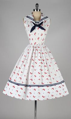 vintage 1950s dress . cotton sailor dress . by millstreetvintage