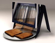 instead of popping up, the toast slides gracefully onto your plate–simplifying the mechanics in standard toasters. (Source)