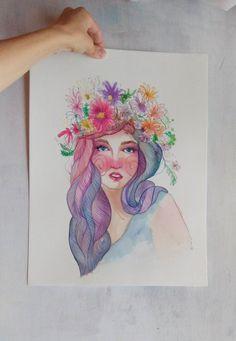Ninfa  Acuarela y tinta sobre papel por RaquelBIlustra en Etsy