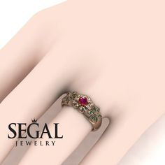 Rose Gold Engagement Ring by Segal Jewelry Victorian Engagement Rings, Elegant Engagement Rings, Princess Cut Engagement Rings, Round Diamond Engagement Rings, Wedding Ring Bands, Victorian Ring, Flower, Unique, Stone