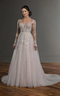 Martina Liana Bridal 1097 Brides in search of a statement-making piece, look no further than this beaded A-line wedding dress with all-over sparkle from Martina Lian Long Wedding Dresses, Long Sleeve Wedding, Wedding Dress Sleeves, Wedding Dress Styles, Wedding Gowns, Wedding Dress Sparkle, Tulle Wedding, Lace Sleeves, Mermaid Wedding