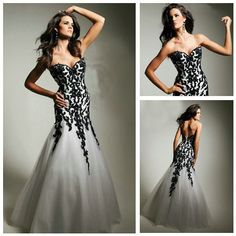 ... Lace and Organza Long Black and White Evening Dresses in Free shipping  Mermaid Design 2013 Lace and Organza Long Black and White Evening Dressesda  Abiti ... 4e1ef475ea4