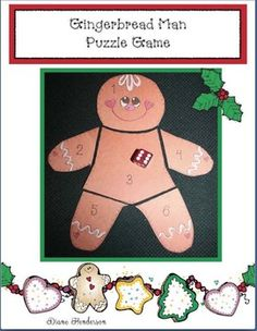 """Here's a quick, easy and fun way for your kiddos to practice numbers 1-6.Print off the numbered, """"color me"""" gingerbread pattern, along with the base.Students color their gingerbread man, cut him apart, then choose a partner to play the puzzle game. Children take turns rolling a dice."""