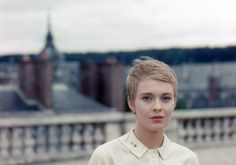 """Jean Seberg during the filming of """"La Récréation"""" photographed by Peter Basch, 1961"""