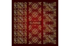 Set of 3 golden lace pattern red by nastyaaroma on @creativemarket
