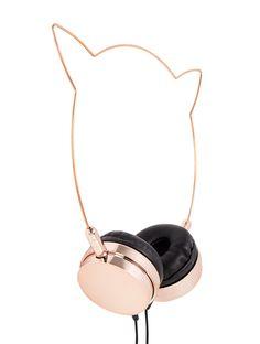 Zara Martin Rose Gold & Black Kitty Headphones
