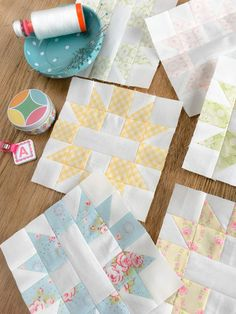 Carried Away Quilting's Star & Cross blocks for the 2017 Patchwork Quilt Along with Fat Quarter Shop; Fabric: Fleurs by Brenda Ridd for Moda; Aurifil, Alphabitties