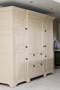 Chalon | Bespoke Housekeepers Cupboard Log Burner Living Room, Tall Cabinet Storage, Locker Storage, Unfitted Kitchen, Larder Cupboard, Freestanding Kitchen, Country Kitchen, Kitchen Design, Kitchen Ideas