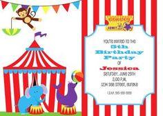"Circus Birthday Invitation 5""x7"" Custom Digital Card via Etsy  http://www.etsy.com/shop/ScrappersEdge"