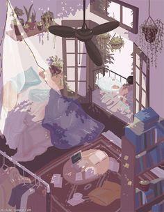 Animated gif about gif in Art/illustration/Animation. Aesthetic Art, Aesthetic Anime, Aesthetic Drawing, Aesthetic Rooms, Pretty Art, Cute Art, Anime Kunst, Anime Art, Posca Art