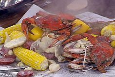 Whole Blue Crabs New Orleans-style from CookingChannelTV.com, i also add whole mushrooms,artichokes,sausage,whole pods of garlic,and potatoes to this,and when they say liquid boil,zatarains is the best,you can buy it online,dont need alot of the lqd,its strong